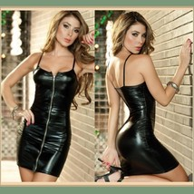 Faux Pleather Front Zip Up Mini Club Dress Comes 2 Colors With Spaghetti Straps image 2