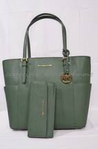 NWT SET of Michael Kors Jet Set Travel Large Tote + Wallet in Moss - Green - $329.00