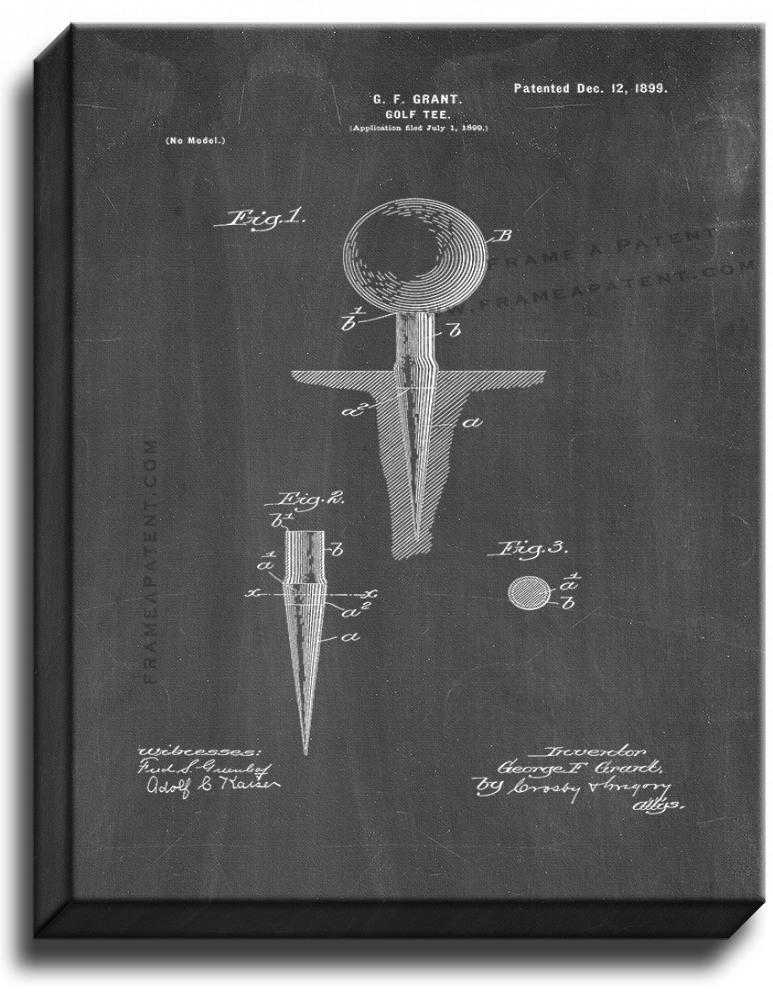 Primary image for Golf Tee Patent Print Chalkboard on Canvas