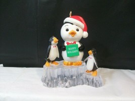 Russ Berrie & Co. Three Penguins Christmas Ornament Happy Holidays Present Gift - $6.92