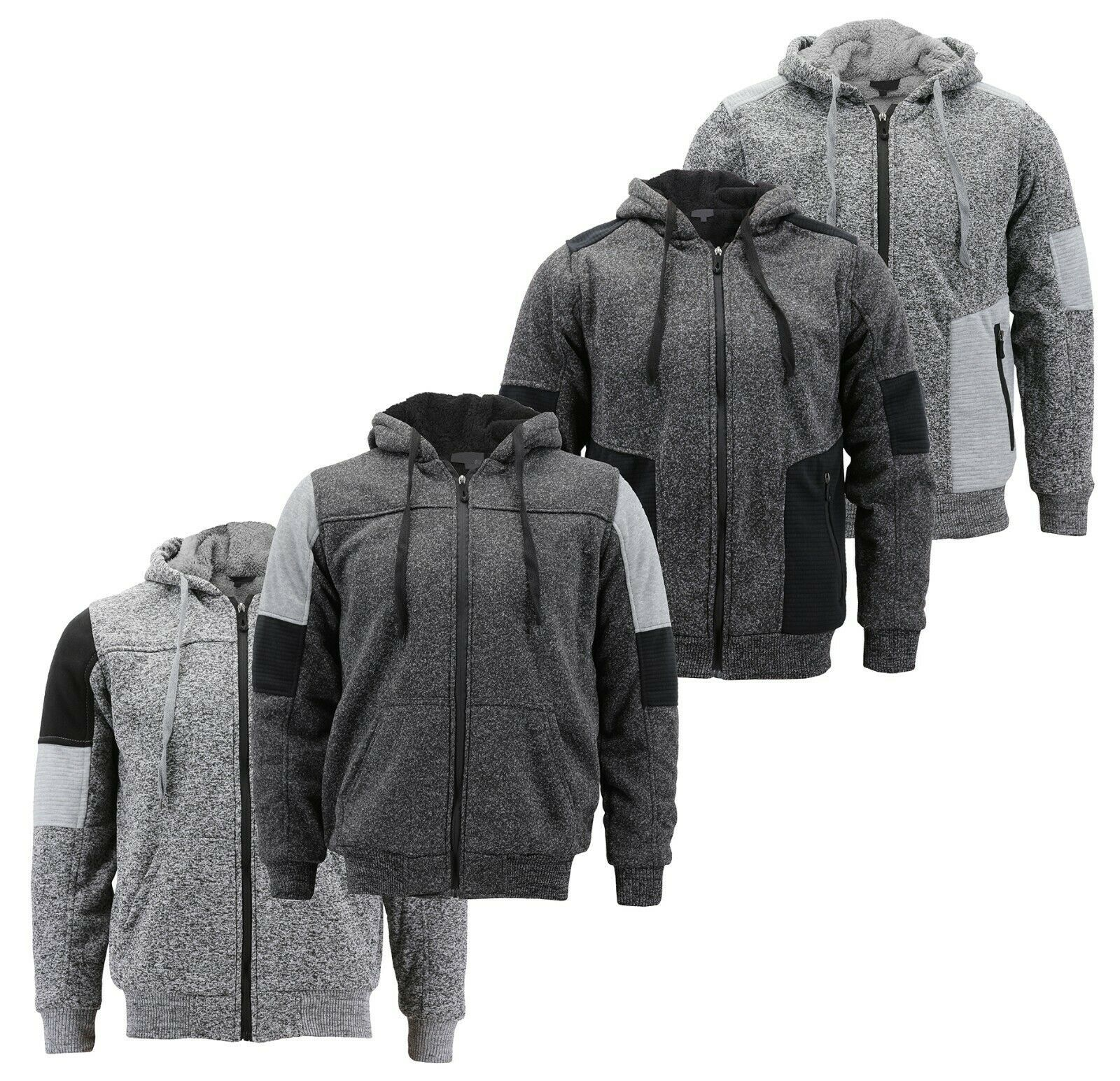 Boy's Soft Sherpa Lined Two Tone Quilted Juniors ZipUp Fleece Hoodie Kids Jacket
