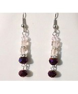 Gorgeous Purple Swarovski Crystal Dangle Earrings  - $10.99