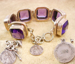 HUGE Amethyst silver Bracelet with infant of prague sterling icon charm fob - $255.00