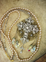 Romantic Gothic Rosary Necklace Long wedding Pearls and glass prism drops chande - $275.00