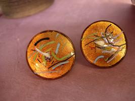 Vintage Enamel Earrings Fiery Copper hand wrought artisan earrings with ... - $30.00