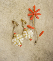 Antique Victorian Coral earrings and brooch Mother of pearl chandelier d... - $245.00