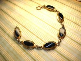 Vintage Victorian bracelet Black onyx stones 12kt gf - $95.00