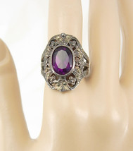 Art deco Sterling Amethyst marcasite ring fancy filigree setting February births - $125.00