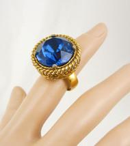 Huge Blue Vintage Costume Ring BIG setting Gothic size 5 - $75.00