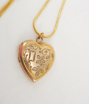 Victorian yellow and rose gold filled heart Locket necklace sweetheart photo loc - $125.00