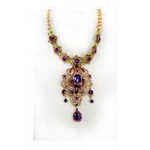 Statement Necklace Purple chandelier rhinestone medieval drop Gothic renaissance - $245.00