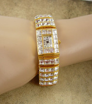 Statement rhinestone Bracelet watch LOADED with heavy crystals working watch - $110.00