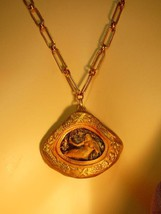Nouveau style Miniature nude mermaid painting framed goddess necklace OOAK - $75.00