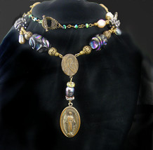 Miraculous Medal Bohemian Rosary necklace Lapis Genuine pearls vintage rhineston - $225.00