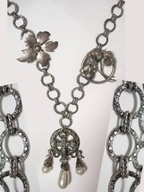 Dramatic GOTHIC MEdieval sterling chandelier Cross Fob  Pearl drops fanc... - $175.00