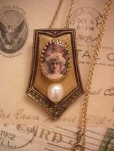Vintage Portrait necklace assemblage celluloid and pearl pendant - $75.00