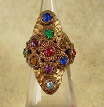 Antique Czech LARGE Ring Rhinestone RING Red Blue Green hammered brass adjustabl - $95.00