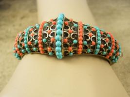 Vintage medieval  Victorian revival  bracelet Turquoise Coral hinged bangle - $295.00
