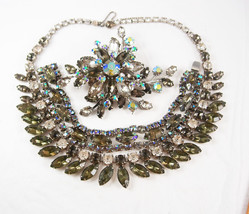 Vintage FABULOUS HOLLYWOOD rhinestone Parure Necklace bracelet HUGE brooch - $310.00
