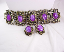 Vintage BAROQUE Bracelet earrings Purple slag LAYERED Demi PARURE huge b... - €146,78 EUR