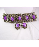 Vintage BAROQUE Bracelet earrings Purple slag LAYERED Demi PARURE huge b... - $175.00