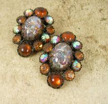 VIntage GORGEOUS Earrings  WEISS dragons breath Rhinestone cluster - $65.00