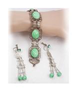 Vintage Deco PEKING Glass Bracelet & earrings chandelier dangles - $145.00