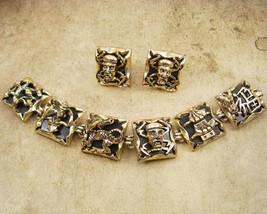 Vintage Chinese Bracelet - clip on earrings - DRAGON  set - Figural Goddess - en - $450.00
