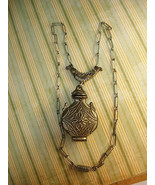 VIntage GOldette locket necklace Egyptian urn signed primitive style gun... - £84.12 GBP