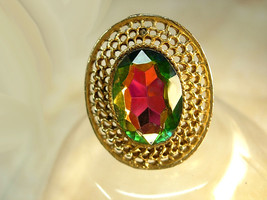 Vintage rivoli Ring Peacock Prism set in a huge setting - $35.00