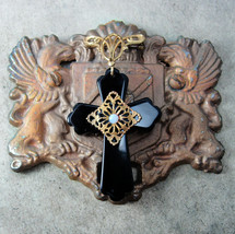 Genuine Opal Cross chatelaine Onyx Edwardian watch fob pendant - $165.00
