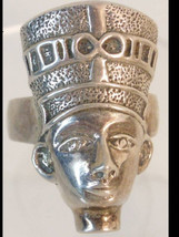 VIntage  Egyptian RIng Cleopatra queen head  sterling - $155.00