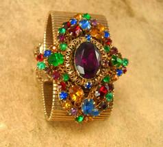 HUGE Vintage Rhinestone bracelet wide golden band and PURPLE rhinestone center - $225.00
