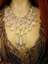 Dramatic Runway Icicle chandelier necklace with HUGE faceted beads - $175.00