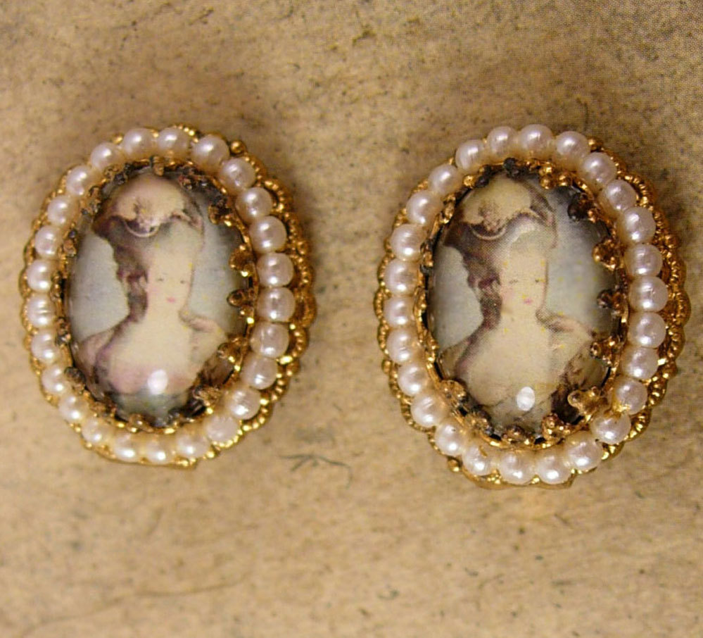 Primary image for Vintage Marie Antoinette earrings Edwardian Earrings Cameo earrings seed pearl c