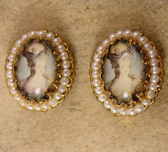 Vintage Marie Antoinette earrings Edwardian Earrings Cameo earrings seed... - $85.00