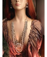 Edwardian style layered necklace and earrings Dripping in chains and pearls and  - $220.00