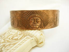 Unusual Indian Story telling bracelet cuff with Chief and warriors - $95.00
