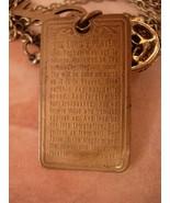 Vintage Religious Saint Esprit Holy DOve chatelaine necklace Lords Prayer fob - $95.00