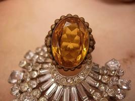 Antique Czech Huge  Topaz Glass Filigree Ring Old - $95.00