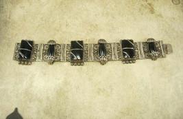 Vintage Nouveau sterling Bracelet Gorgeous metal work hinged signed black onyx E - $255.00
