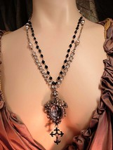 Gothic Cherub necklace with pearls and rhinestone swags and Edwardian Cross and  - $210.00