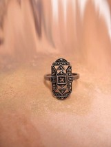 Vintage Edwardian sterling and marcasite ring with original setting - £125.01 GBP
