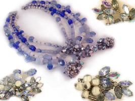 Signed baroque Blue chandelier drop  ROBERT GLASS HUGE necklace earrings - $265.00
