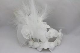 Venetian Goddess Masquerade Mask with High Fashion Macrame Lace & feather mk17 - $29.99