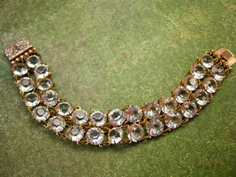 Antique Art deco Glass Open back bracelet Clear faceted jewels - $175.00