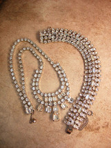 Vintage stunning signed Weiss BRacelet and chandelier bib necklace loade... - $125.00