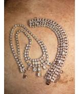 Vintage stunning signed Weiss BRacelet and chandelier bib necklace loade... - $125.00