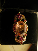 DIva PINK Vintage cocktail ring loaded with PINK rhinestones and sparkle - $45.00