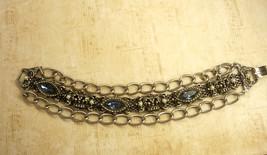 Vintage chunky Rhinestone Crown Bracelet Blue marquise - $55.00